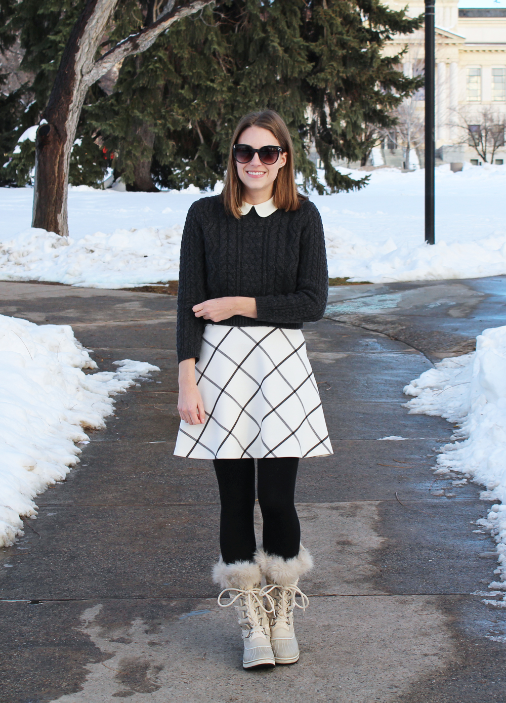 Cropped sweater, Peter Pan collar, windowpane skirt, fleece-lined leggings, Sorel boots — Cotton Cashmere Cat Hair