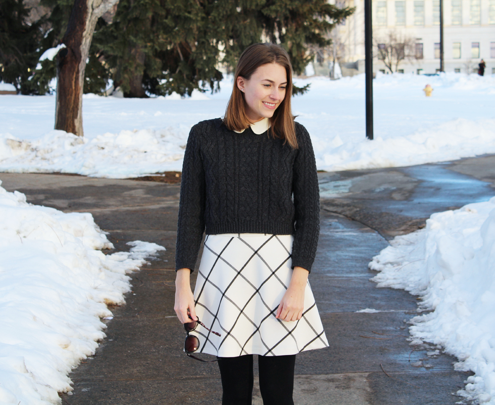 Cropped sweater + Peter Pan collar + windowpane skirt — Cotton Cashmere Cat Hair