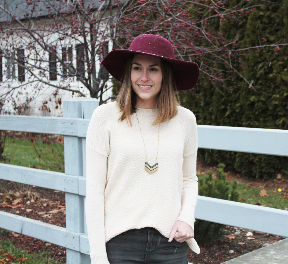 Ivory sweater + burgundy felt hat + Madewell Arrowstack necklace — Cotton Cashmere Cat Hair
