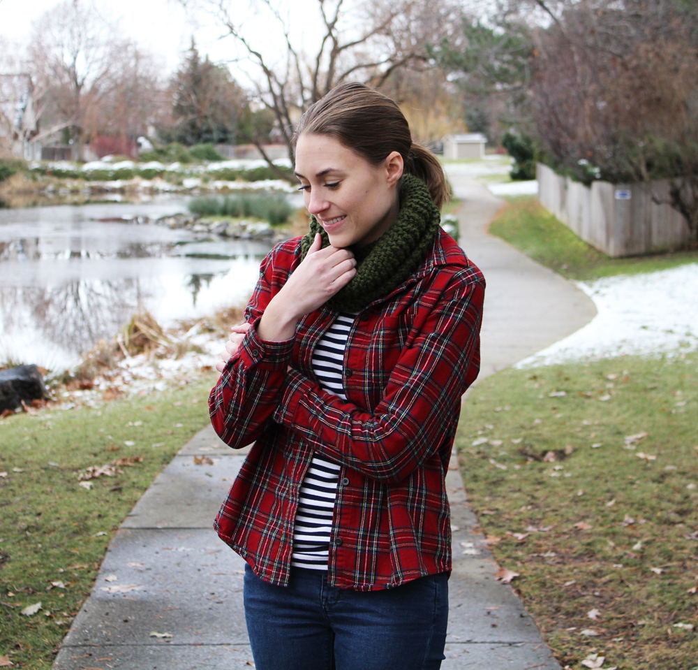 Red plaid flannel shirt, navy striped tee, green scarf — Cotton Cashmere Cat Hair
