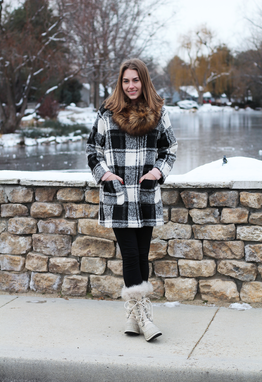 Faux fur scarf, plaid coat, black ponte pants, Sorel snow boots — Cotton Cashmere Cat Hair