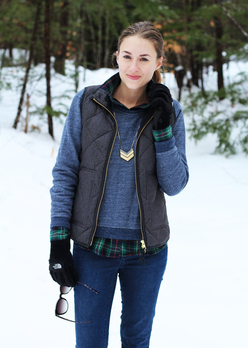 J.Crew Factory puffer vest + Everlane marled sweatshirt + L.L.Bean plaid flannel shirt + Madewell necklace — Cotton Cashmere Cat Hair