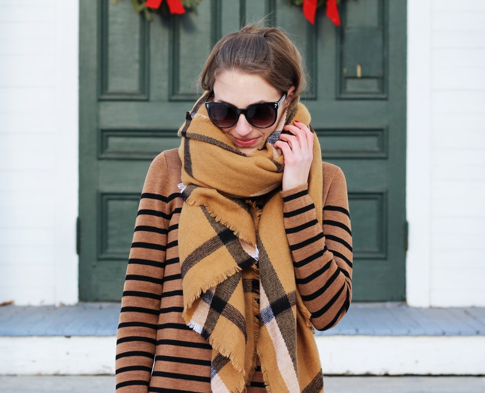 Pattern mix: Plaid camel scarf + striped camel sweater — Cotton Cashmere Cat Hair