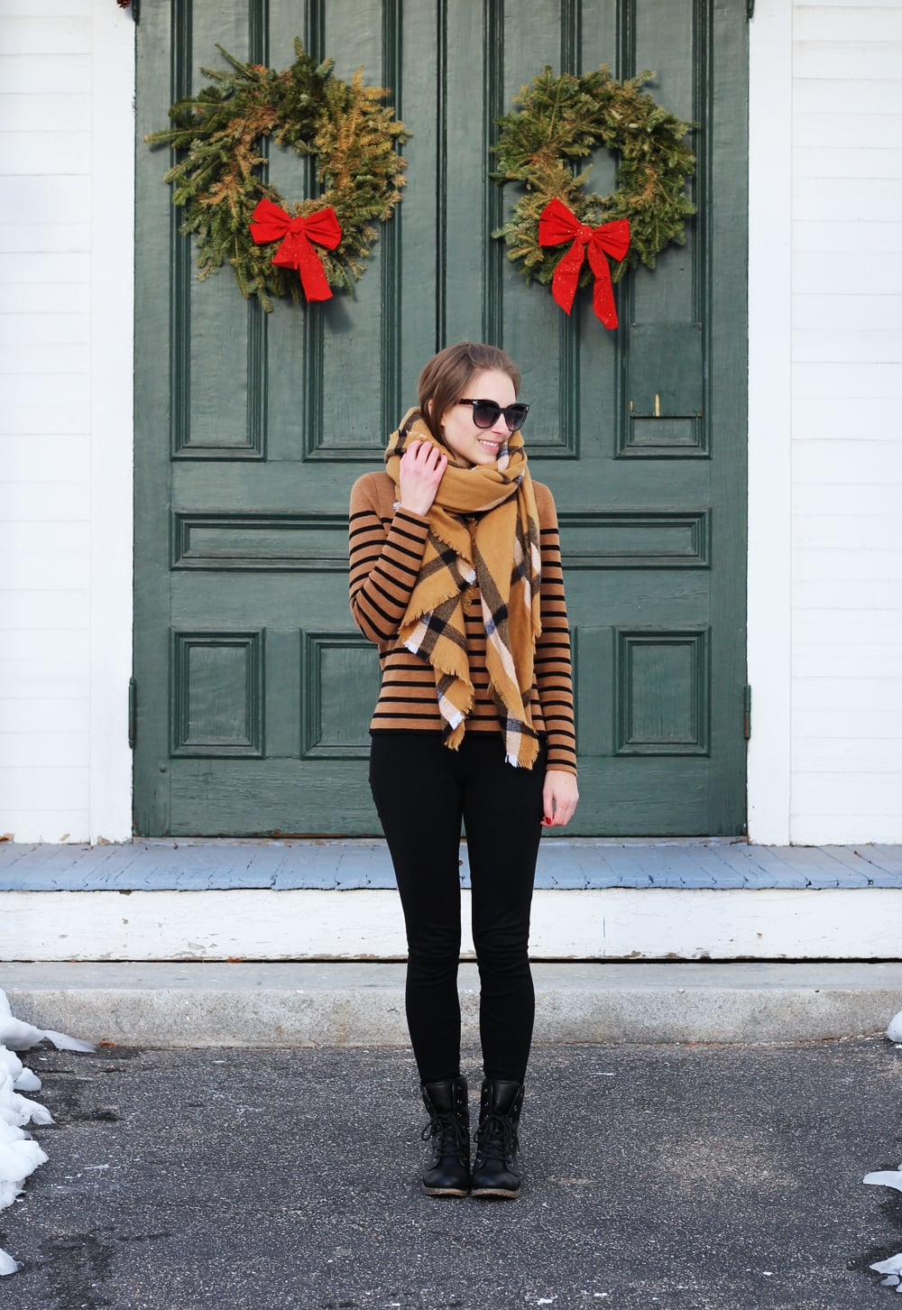 Checked camel scarf, striped camel sweater, black J.Crew Pixie pants, black combat boots — Cotton Cashmere Cat Hair