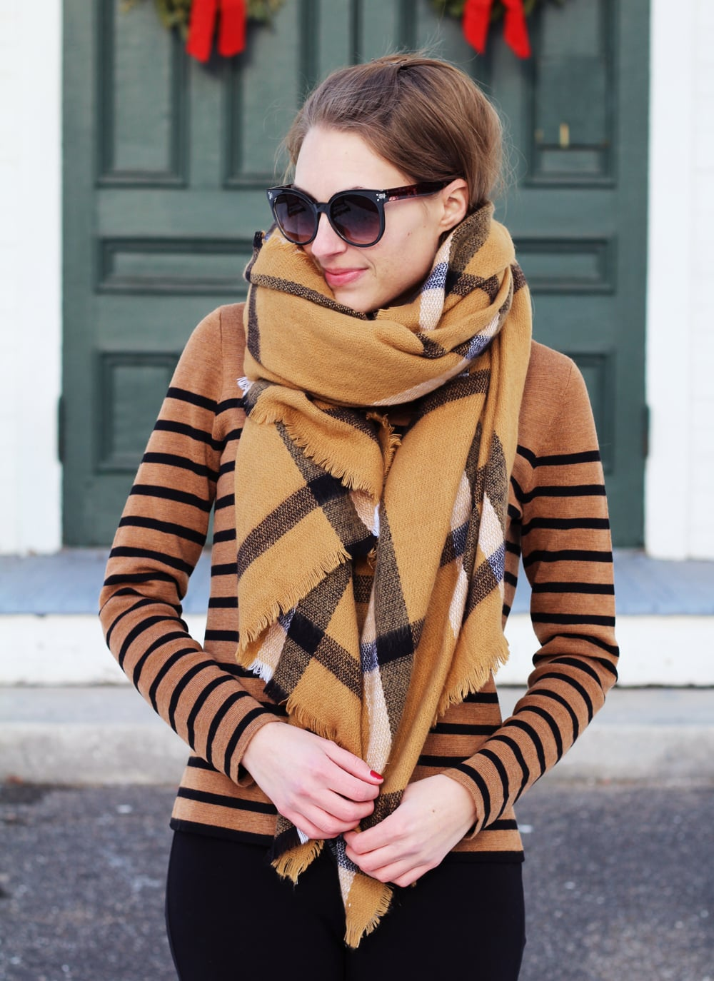 Camel checked scarf + camel striped sweater + big sunglasses — Cotton Cashmere Cat Hair