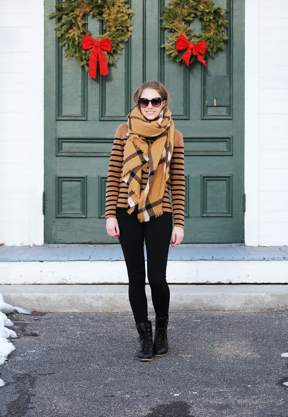 IMG_4847.jpgChecked camel scarf, striped camel sweater, black J.Crew Pixie pants, black combat boots — Cotton Cashmere Cat Hair