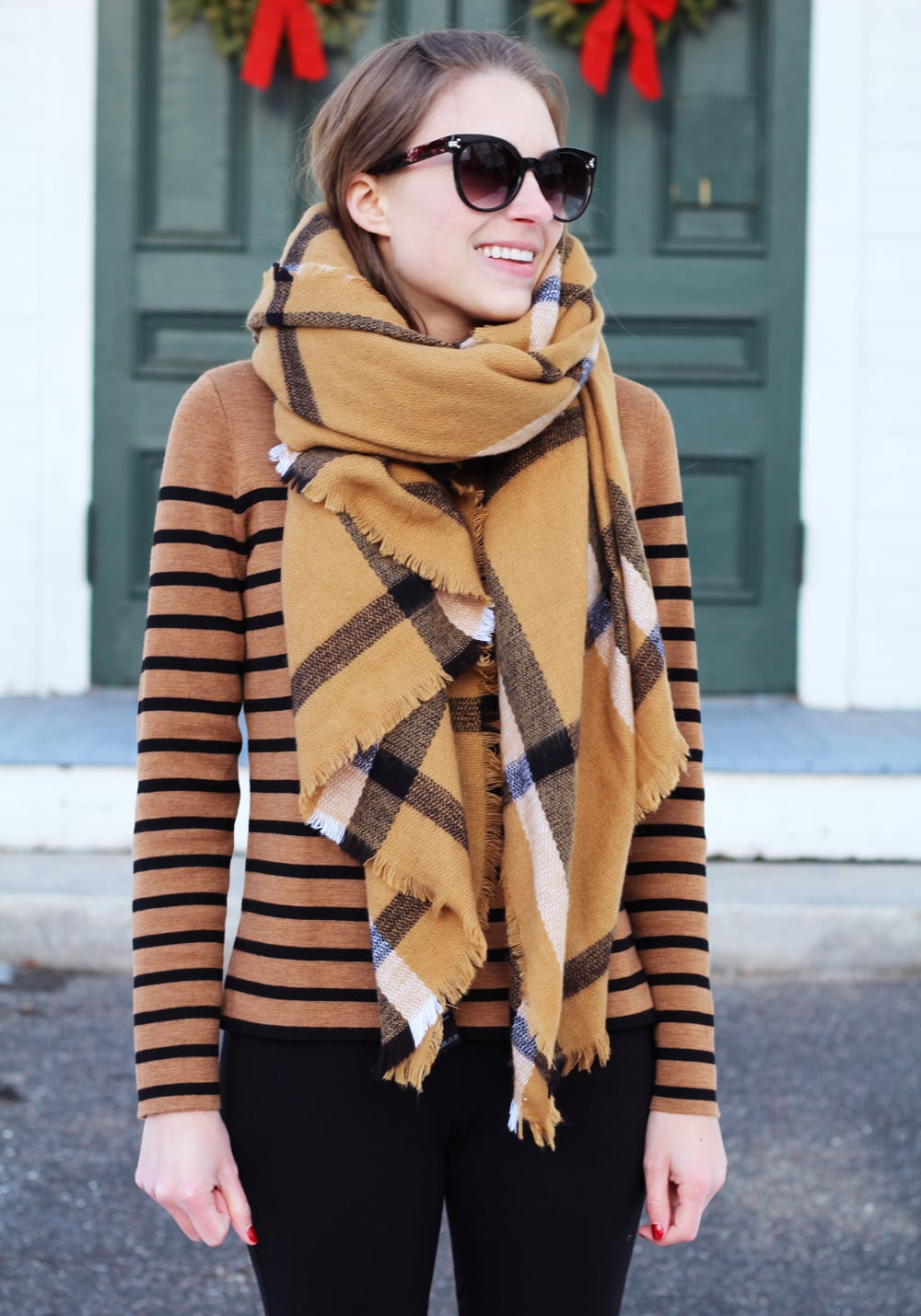 Camel checked scarf + camel striped sweater + black ponte pants — Cotton Cashmere Cat Hair