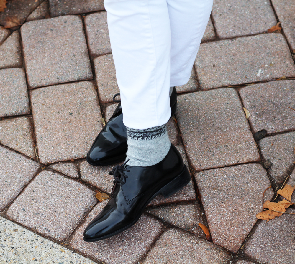 White skinny jeans + fair isle socks + shiny black oxfords — Cotton Cashmere Cat Hair