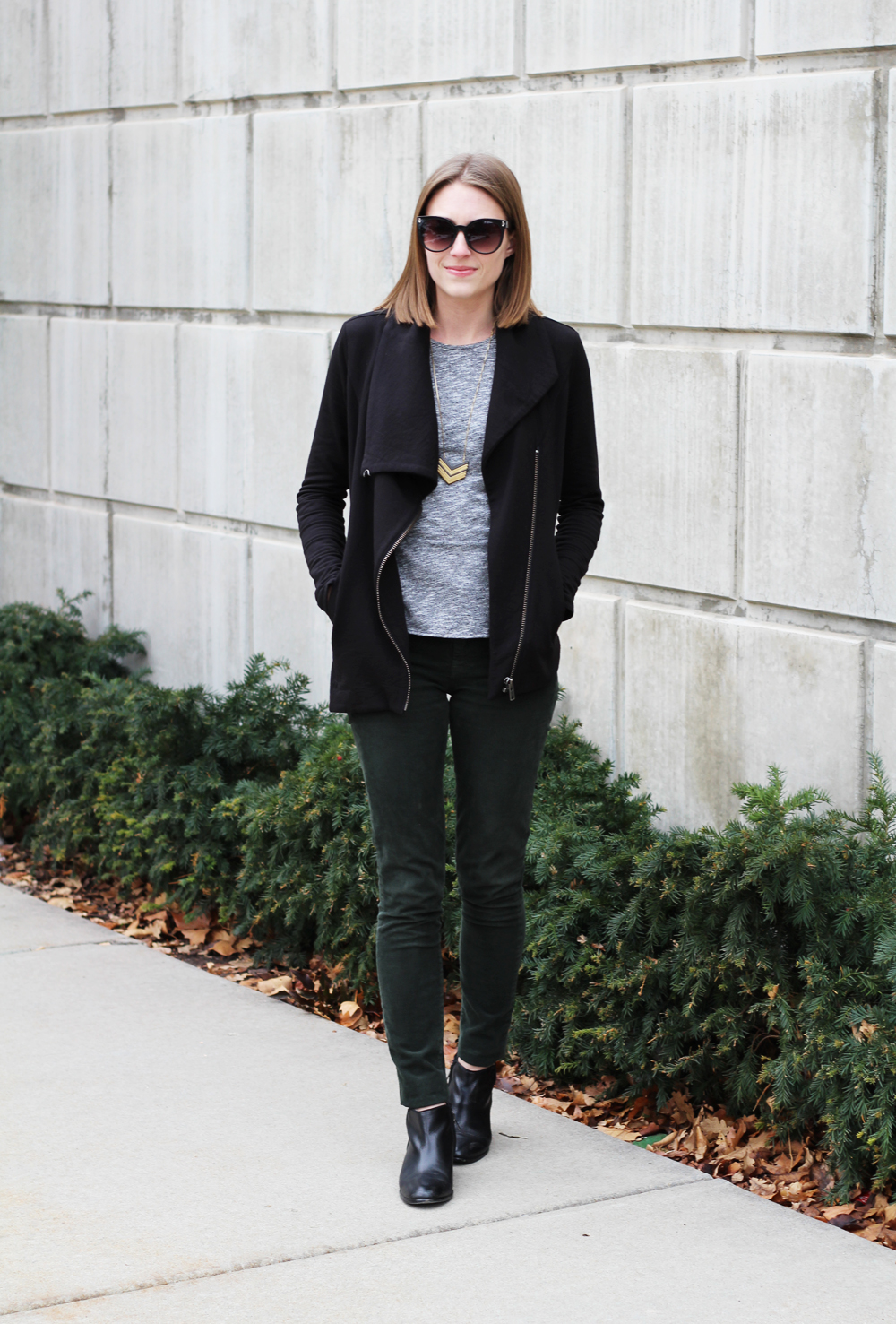 Helmut Lang sweatshirt, grey pepulm top, green corduroy pants, black ankle boots — Cotton Cashmere Cat Hair