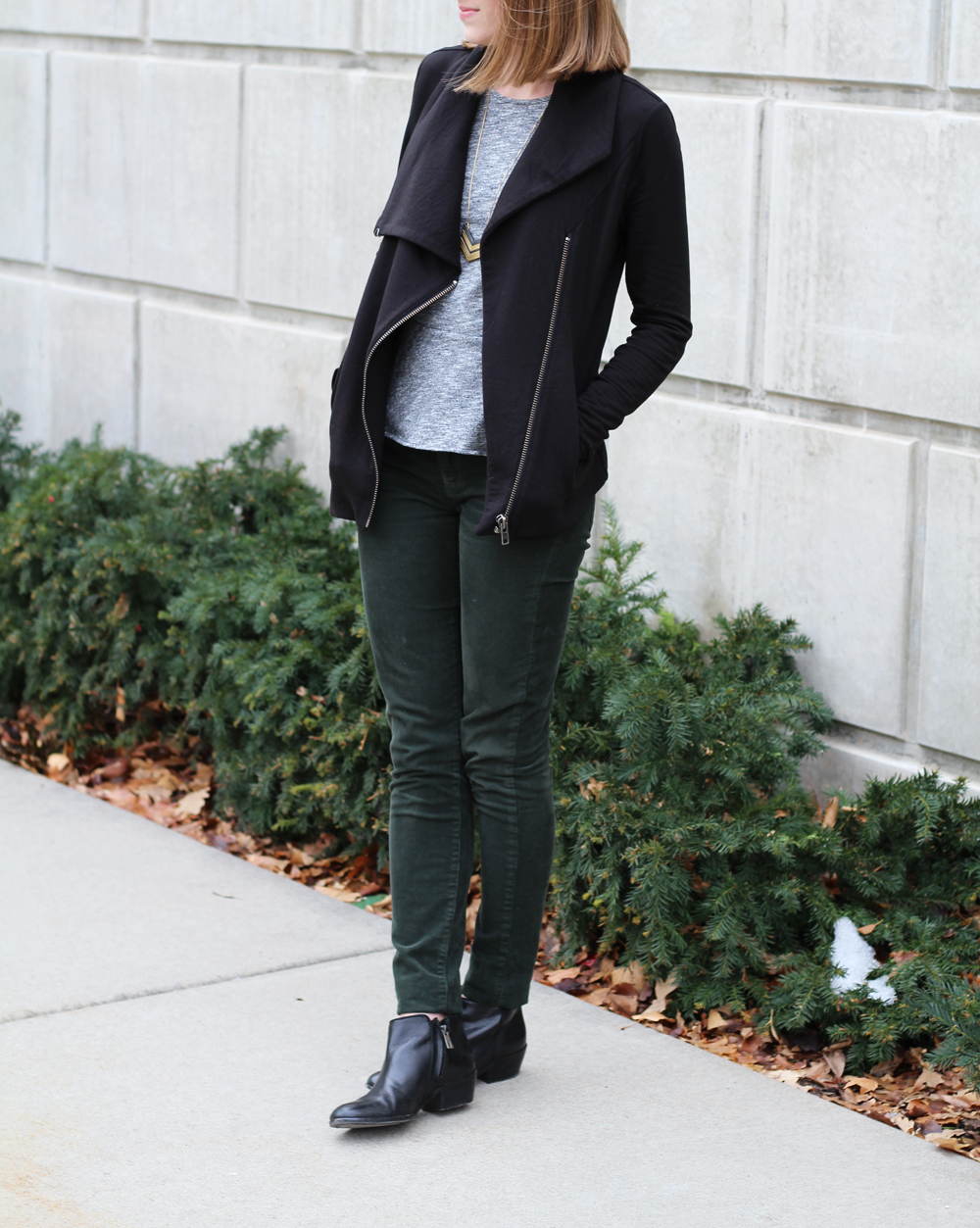 Helmut Lang sweatshirt, grey peplum top, green corduroy pants, black ankle boots — Cotton Cashmere Cat Hair