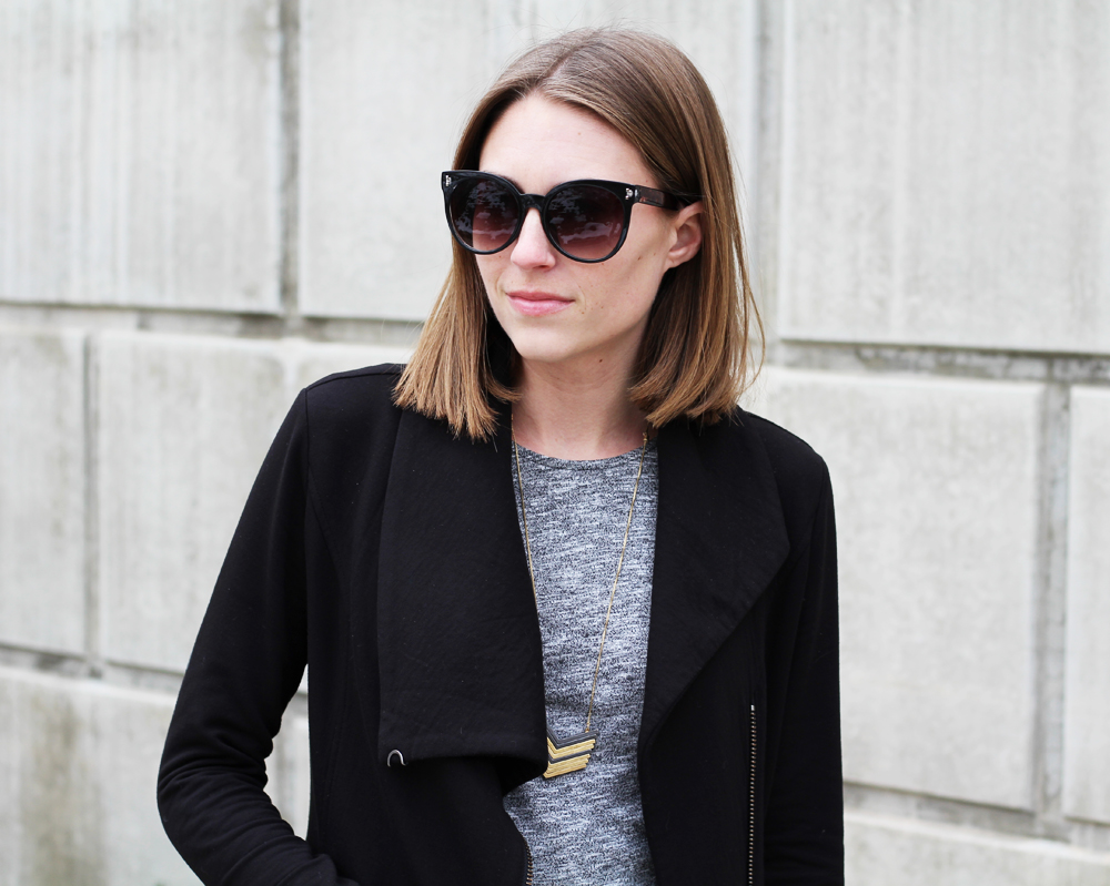 Helmut Lang sweatshirt + grey peplum top + Madewell 'Arrowstack' necklace + big sunglasses — Cotton Cashmere Cat Hair