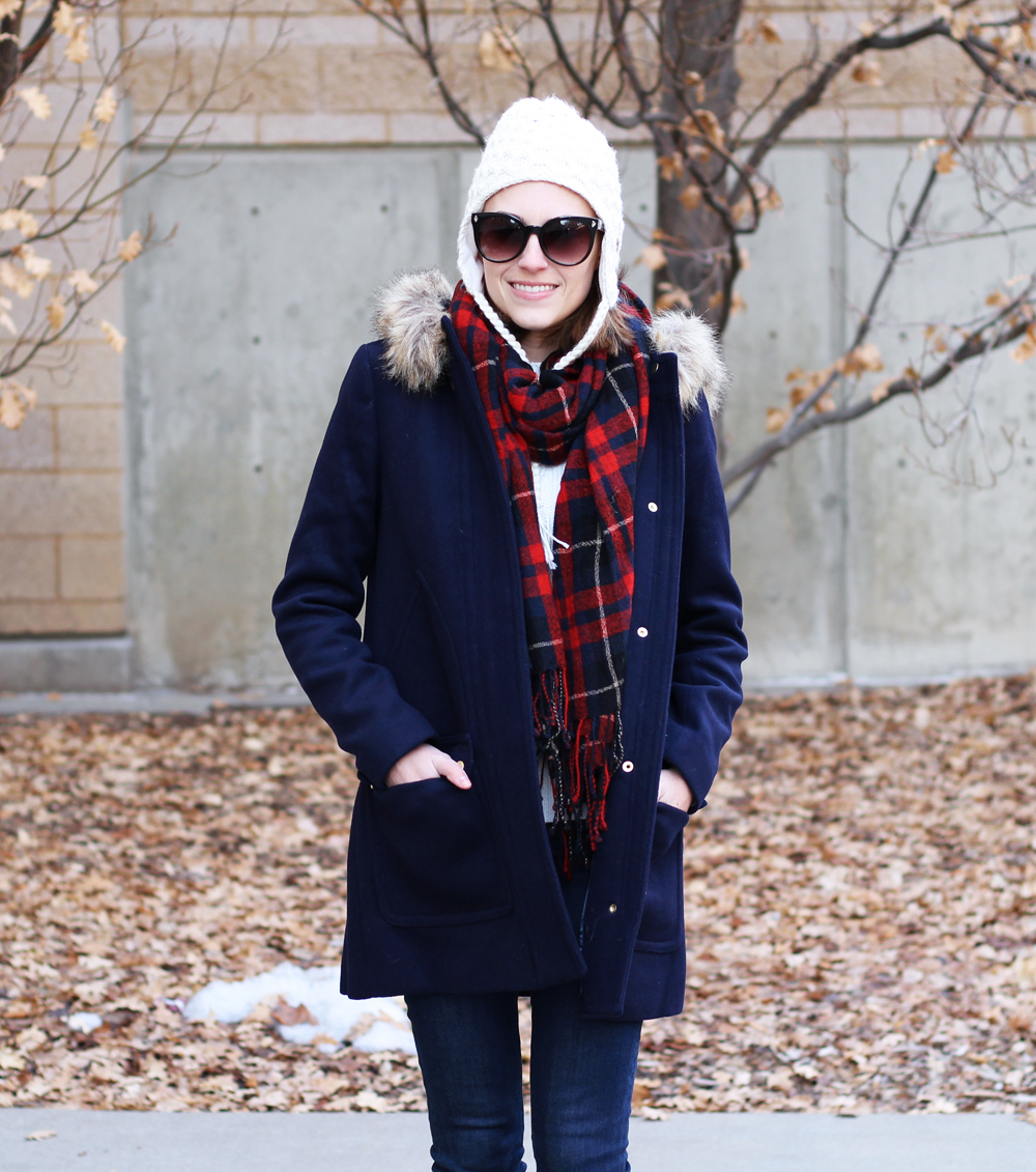 J.Crew Factory 'Vail' parka + plaid scarf + ivory beanie — Cotton Cashmere Cat Hair