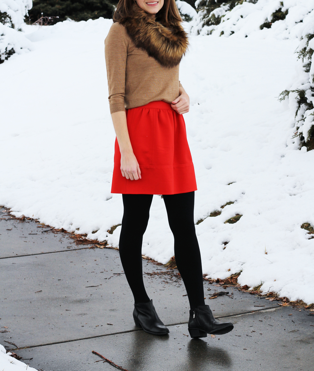 How to wear a red mini skirt in the winter — Cotton Cashmere Cat Hair