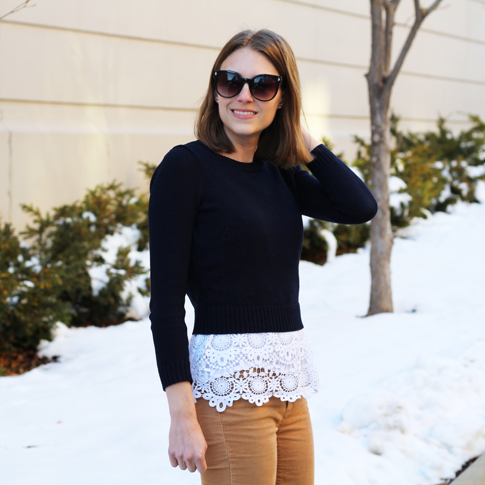 Navy cropped sweater over white crochet tank top — Cotton Cashmere Cat Hair