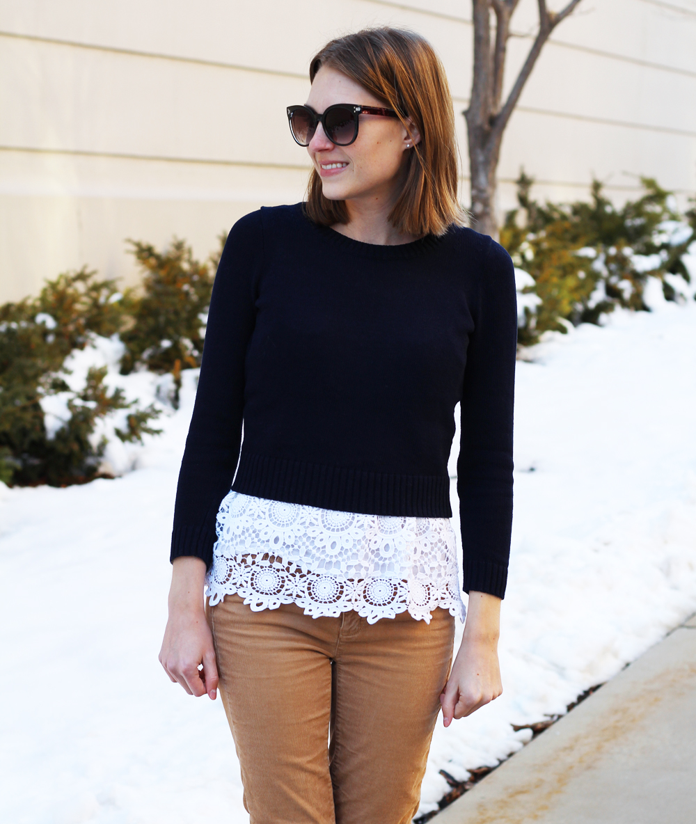 Navy cropped sweater + white crochet tank top + tan corduroy pants — Cotton Cashmere Cat Hair