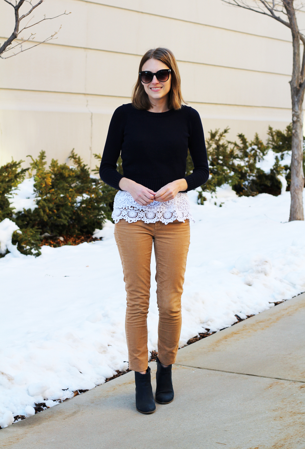 Navy cropped sweater, white crochet tank top, tan corduroy pants, navy ankle boots — Cotton Cashmere Cat Hair