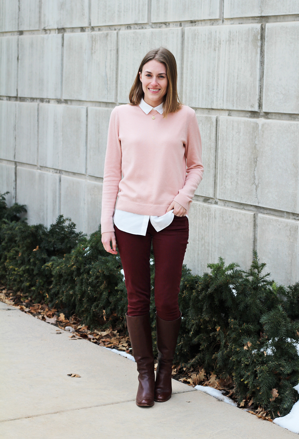Blush pink sweater, collared blouse, burgundy pants, brown tall boots — Cotton Cashmere Cat Hair