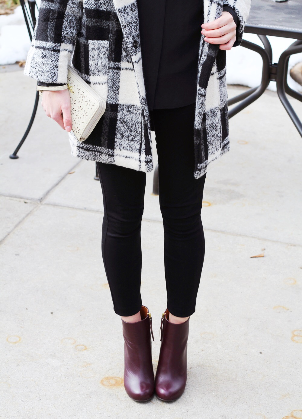 Plaid coat, black silk top, black pants, red ankle boots — Cotton Cashmere Cat Hair
