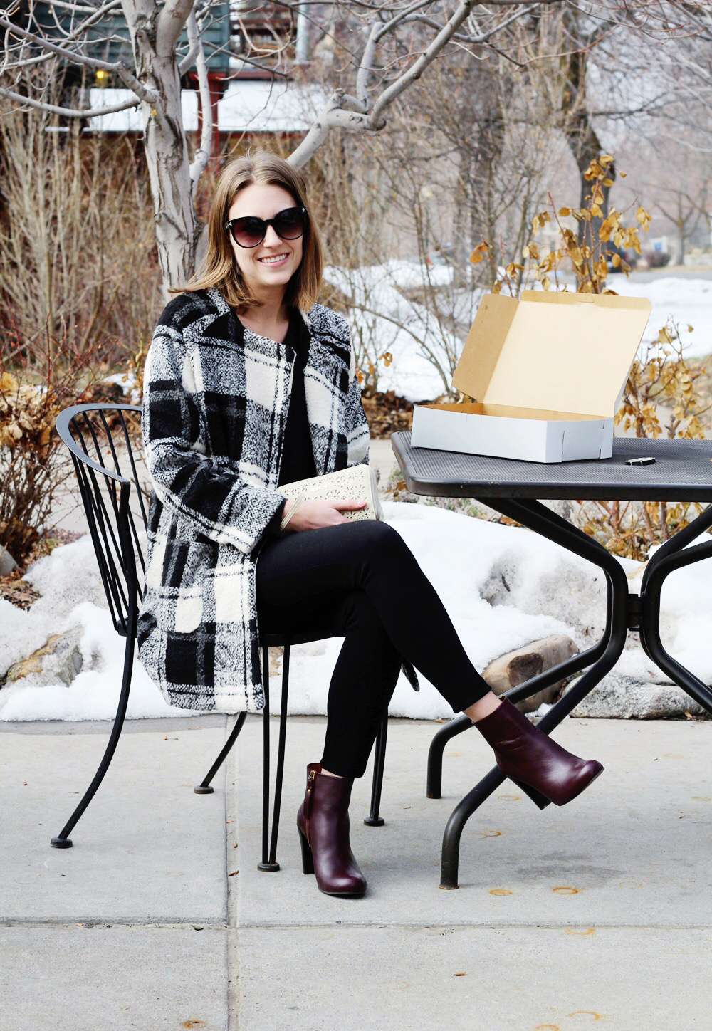 Plaid coat, black silk top, black ponte pants, red ankle boots — Cotton Cashmere Cat Hair
