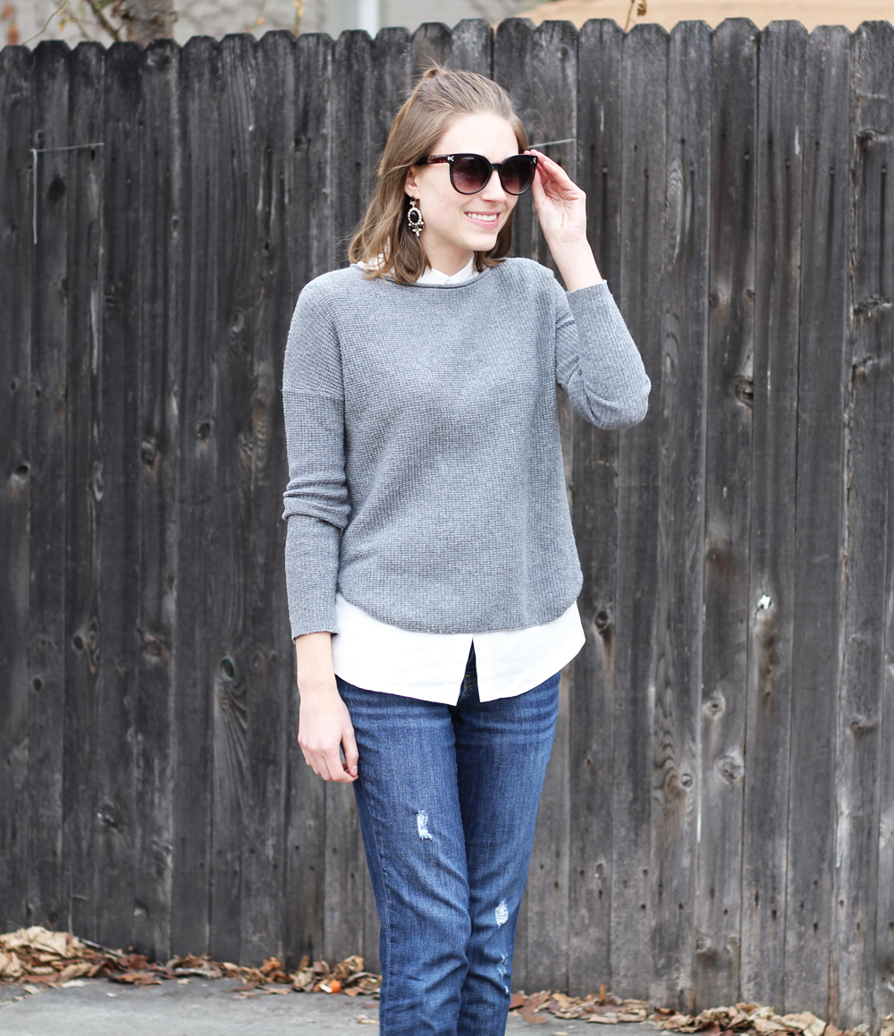 Grey sweater + collared blouse + boyfriend jeans -- Cotton Cashmere Cat Hair
