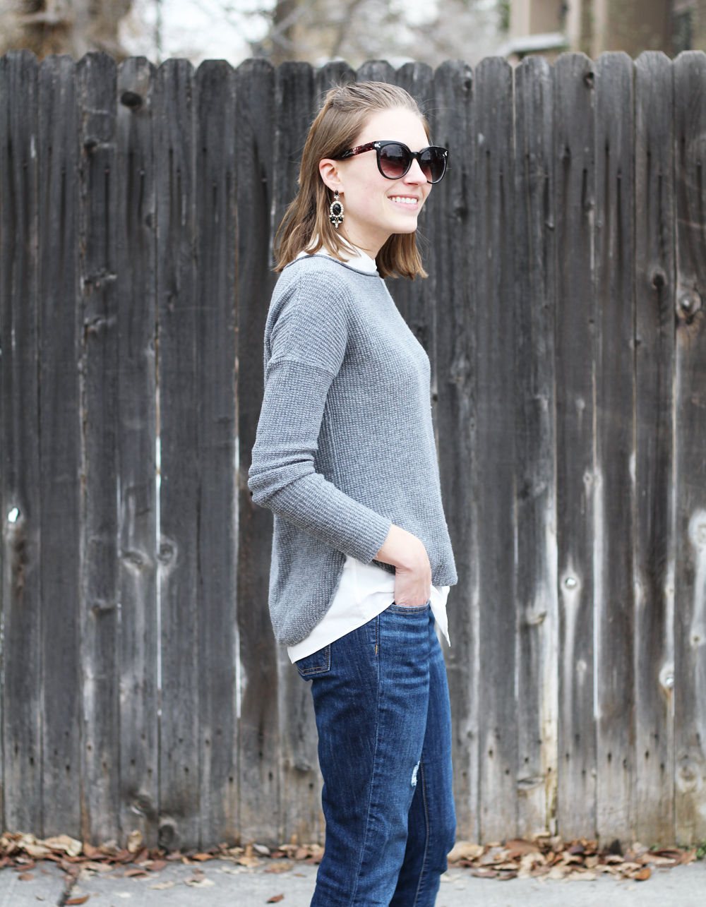 Grey sweater, collared blouse, boyfriend jeans, statement earrings -- Cotton Cashmere Cat Hair