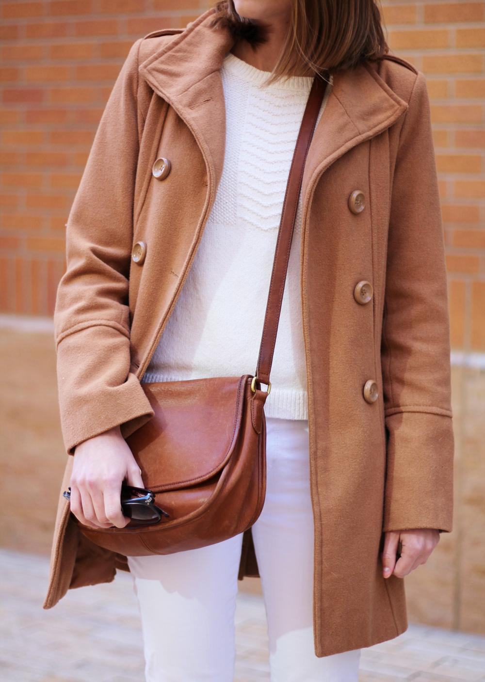 Camel coat + winter whites -- Cotton Cashmere Cat Hair