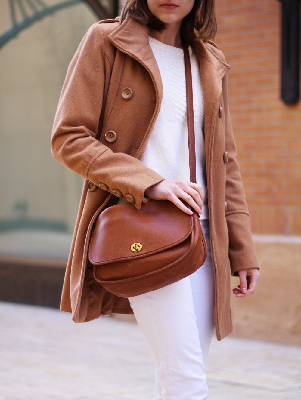 Camel coat + winter whites + Coach 'City' bag -- Cotton Cashmere Cat Hair