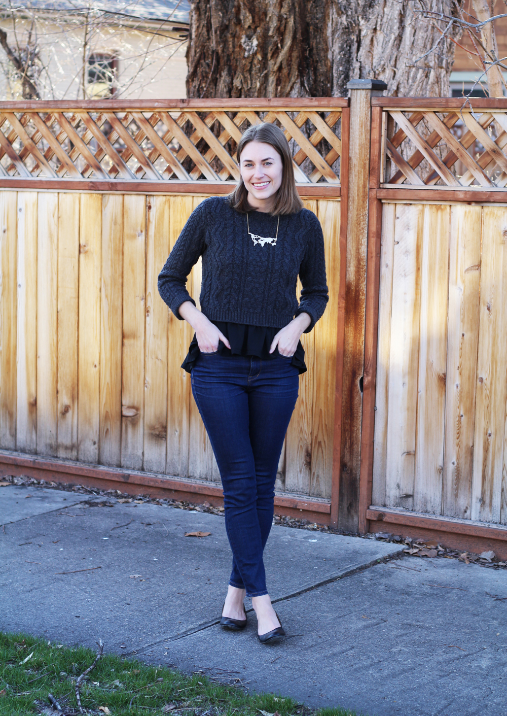 Cropped sweater, peplum shirt, high-rise jeans, black ballet flats -- Cotton Cashmere Cat Hair