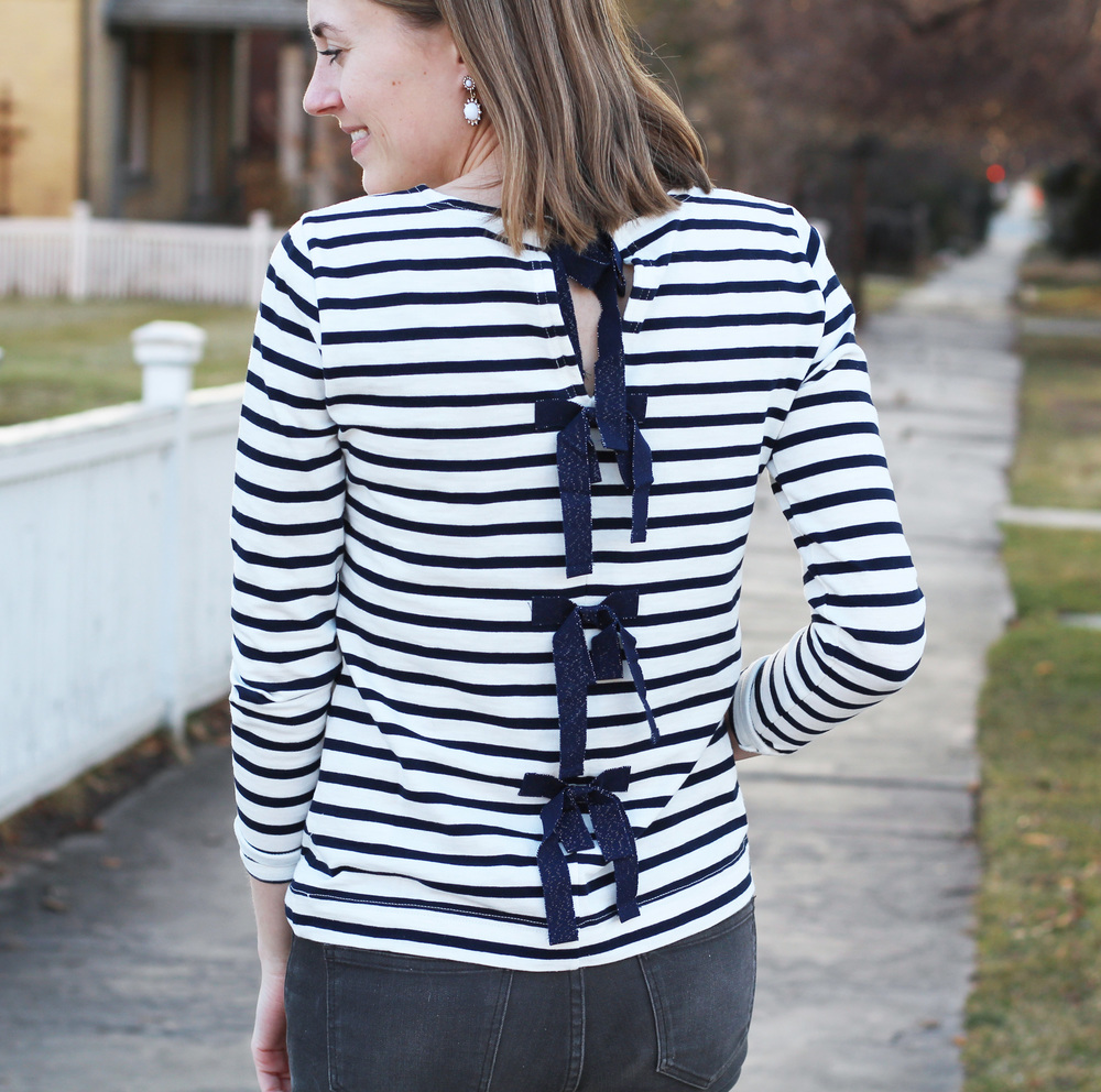 J.Crew navy striped bow-embellished tee -- Cotton Cashmere Cat Hair