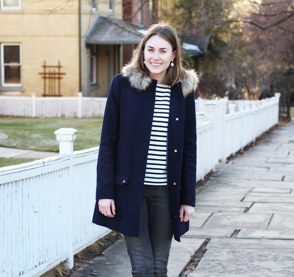 J.Crew Factory 'Vail' parka + navy striped tee -- Cotton Cashmere Cat Hair