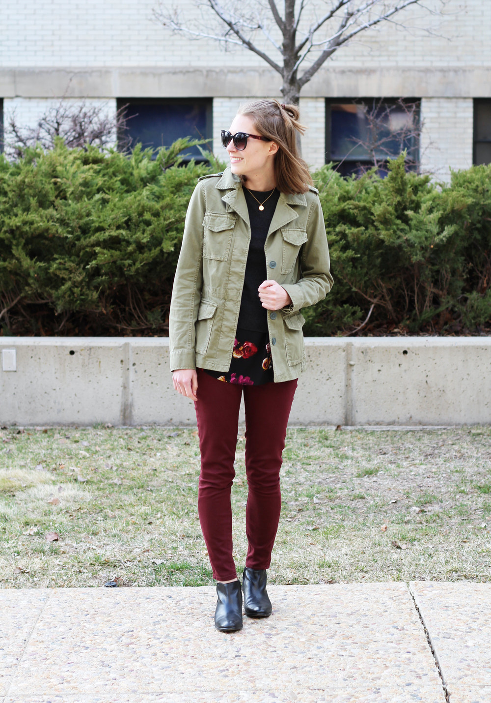 Army green jacket, layered sweater, burgundy pants, black ankle boots -- Cotton Cashmere Cat Hair