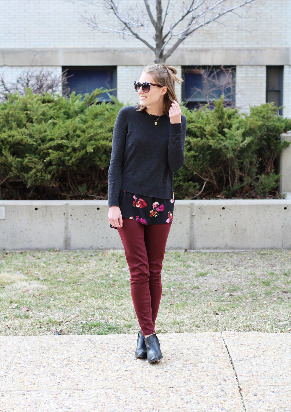 Floral-print layered sweater, burgundy pants, black ankle boots -- Cotton Cashmere Cat Hair