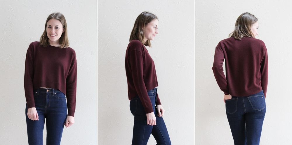 Everlane 'The Cashmere Cropped Crew' in burgundy -- Cotton Cashmere Cat Hair