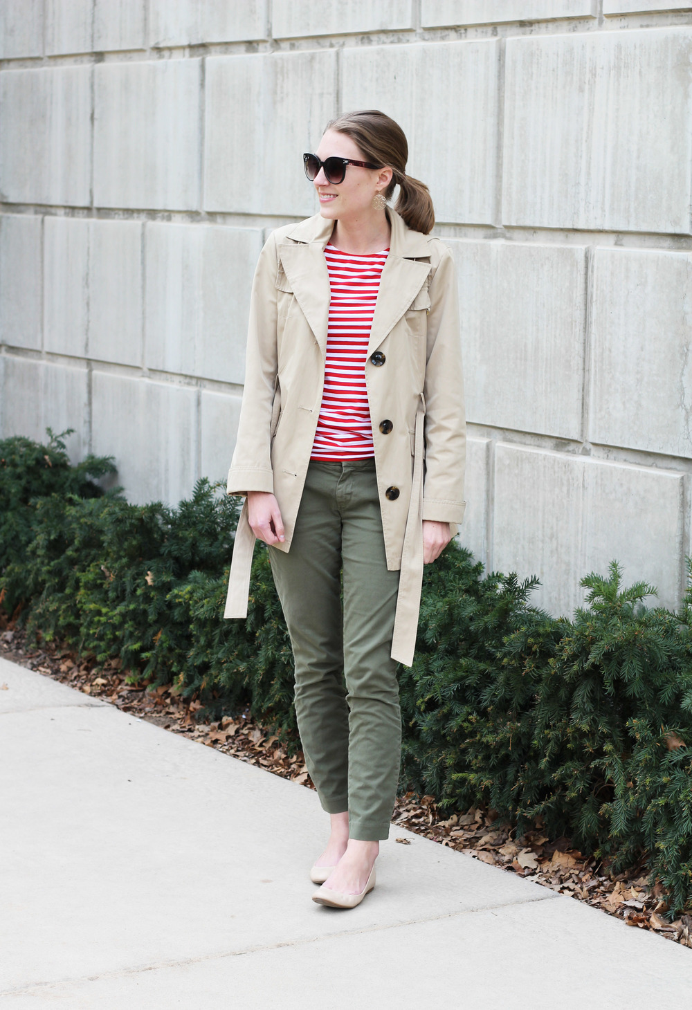 Trench coat, red stripes, olive pants, neutral ballet flats -- Cotton Cashmere Cat Hair