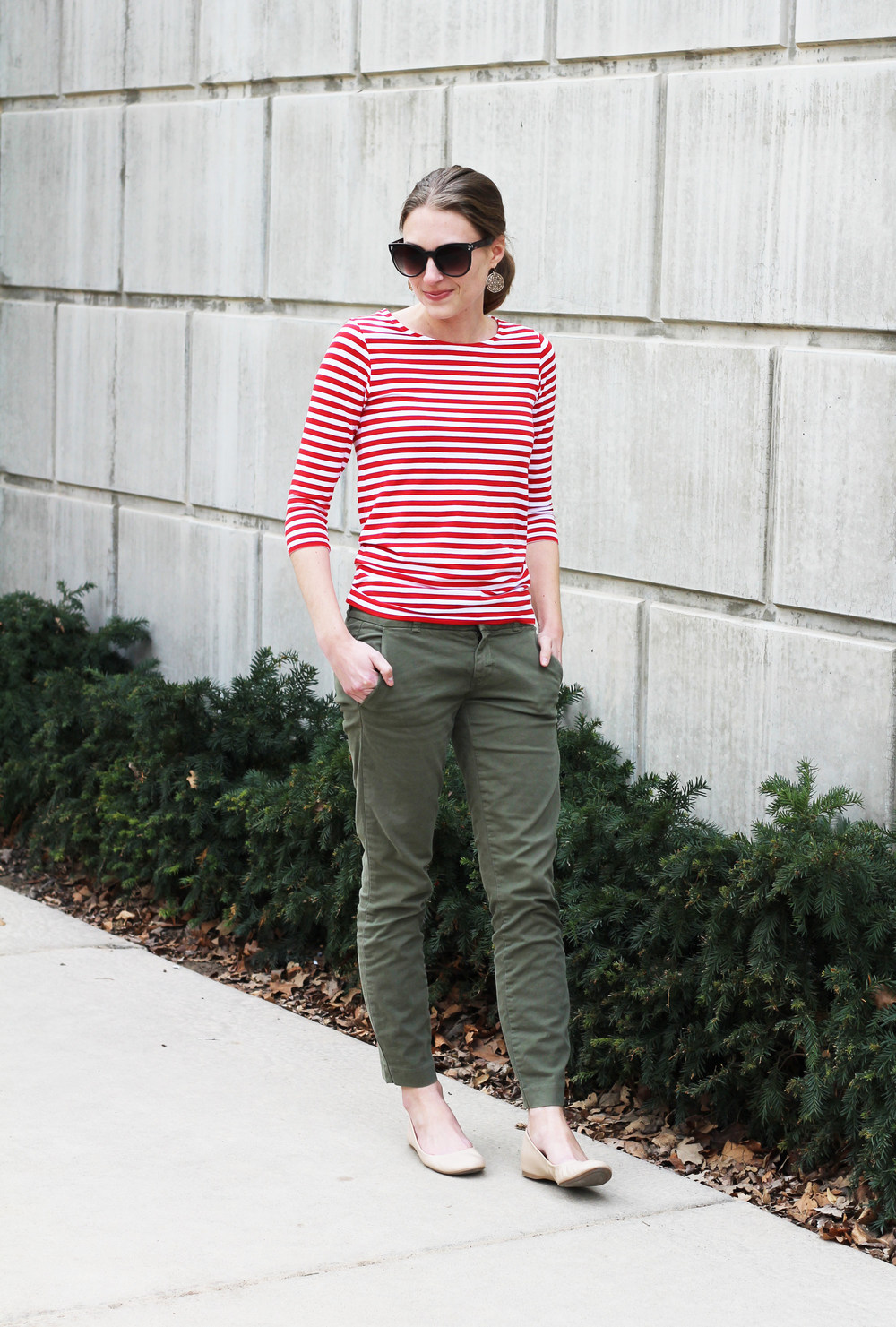Red striped tee, olive green pants, neutral ballet flats -- Cotton Cashmere Cat Hair