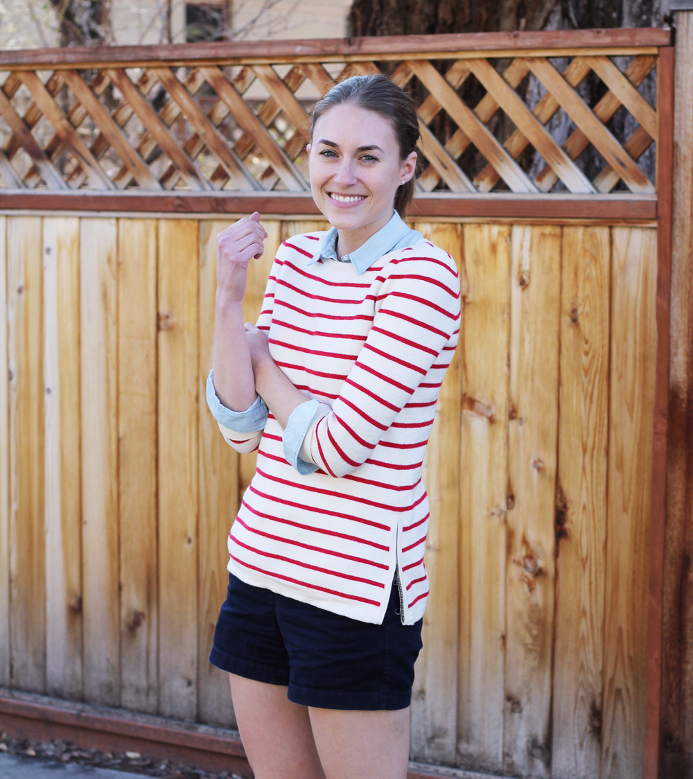 Spring outfit: Red striped sweater + light blue collared shirt + navy shorts -- Cotton Cashmere Cat Hair