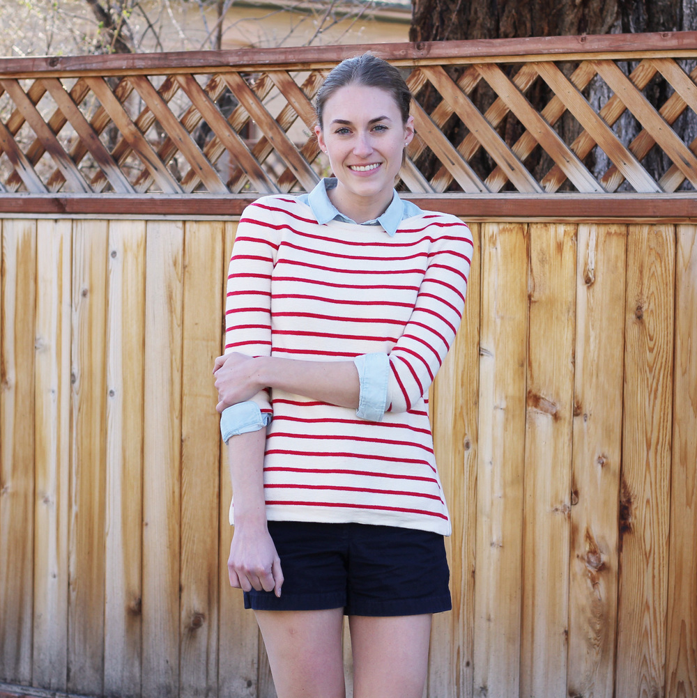 Red striped sweater + blue collared shirt + navy shorts -- Cotton Cashmere Cat Hair