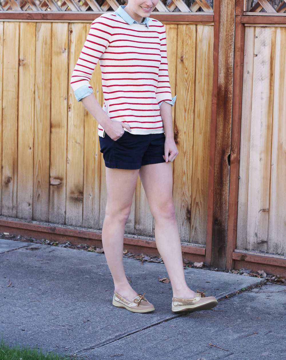 Red striped sweater + light blue shirt + navy shorts + gold Sperrys -- Cotton Cashmere Cat Hair