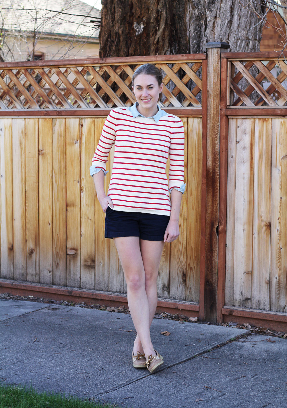 Red striped sweater, light blue shirt, navy shorts, gold Sperrys -- Cotton Cashmere Cat Hair