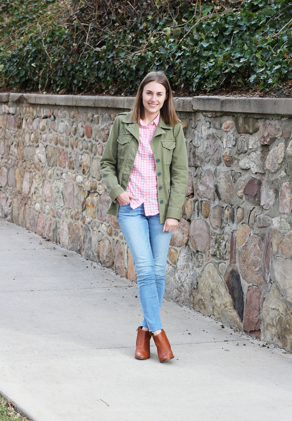 Army green jacket, pink gingham shirt, light wash denim, cognac ankle boots — Cotton Cashmere Cat Hair