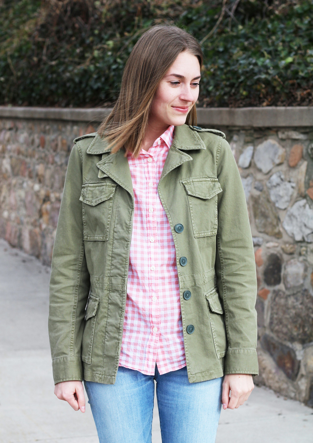 Green utility jacket + pink gingham shirt + light wash denim — Cotton Cashmere Cat Hair