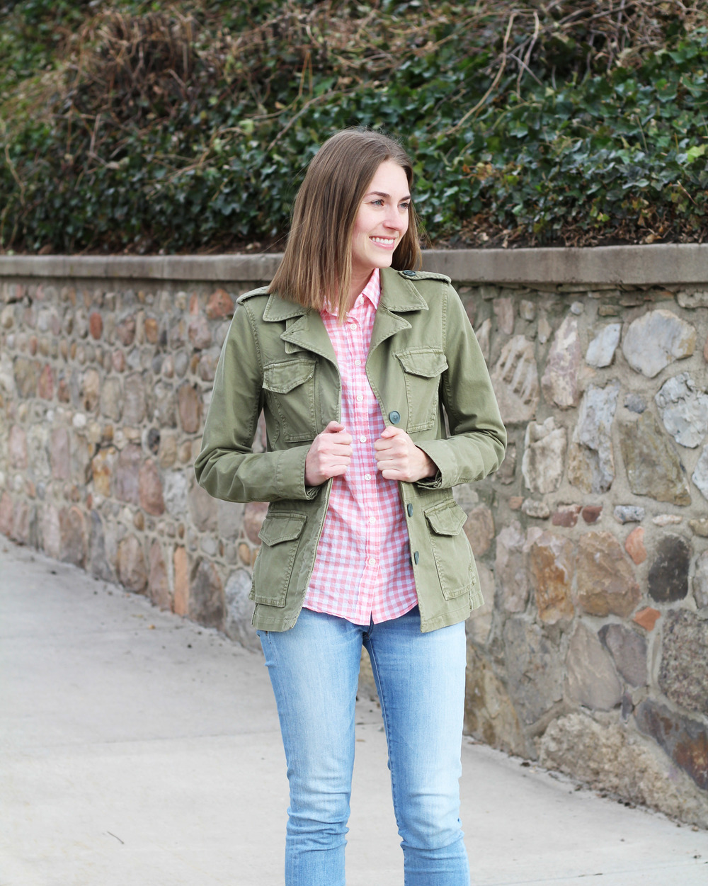 Army green jacket + pink gingham + light wash denim — Cotton Cashmere Cat Hair