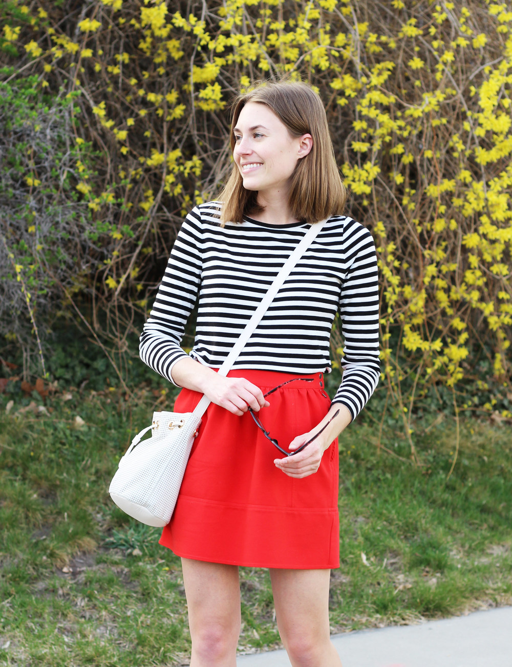 Spring outfit: black and white stripes + red skirt — Cotton Cashmere Cat Hair