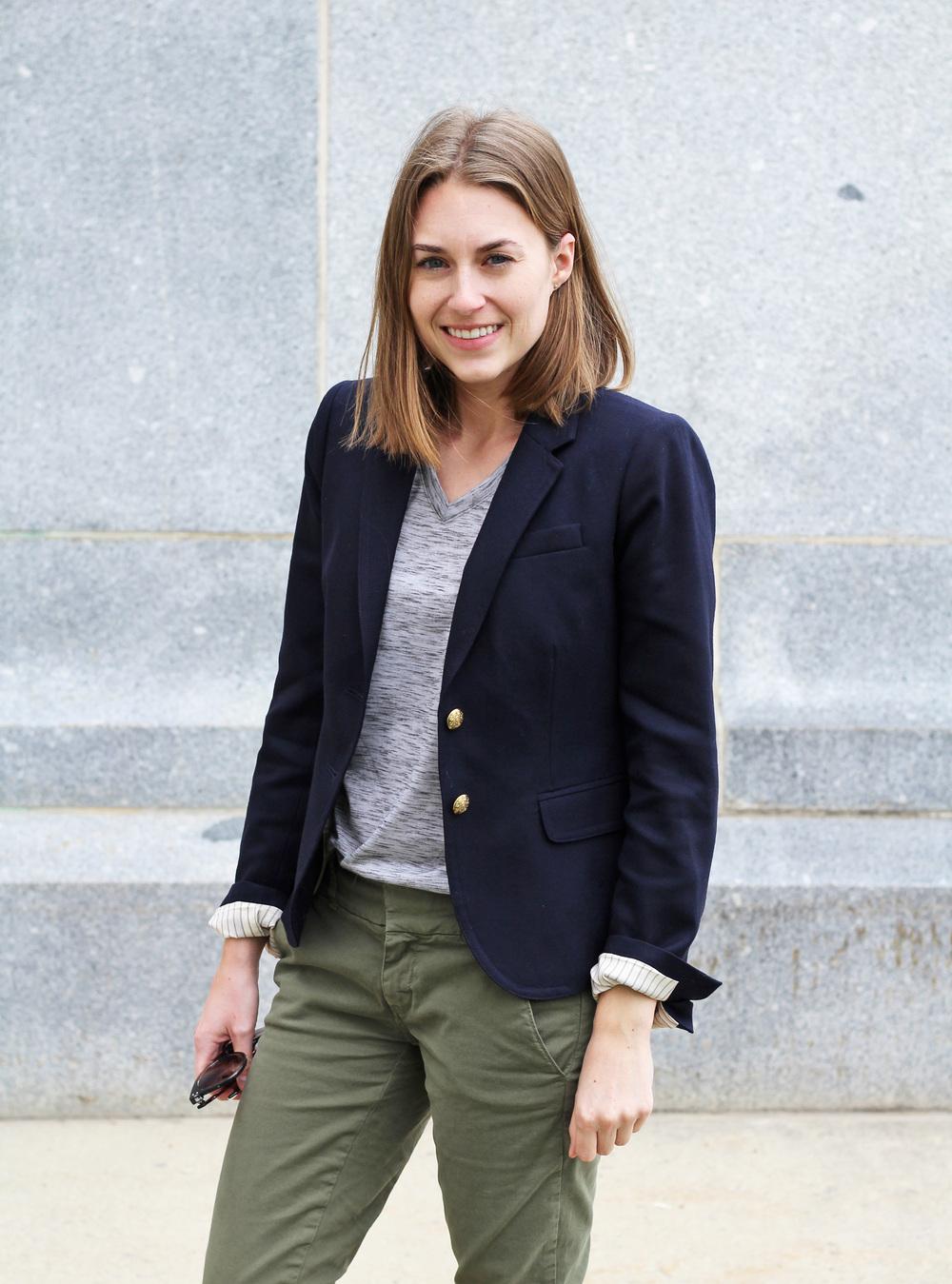 Navy blazer + grey tee + green chinos — Cotton Cashmere Cat Hair