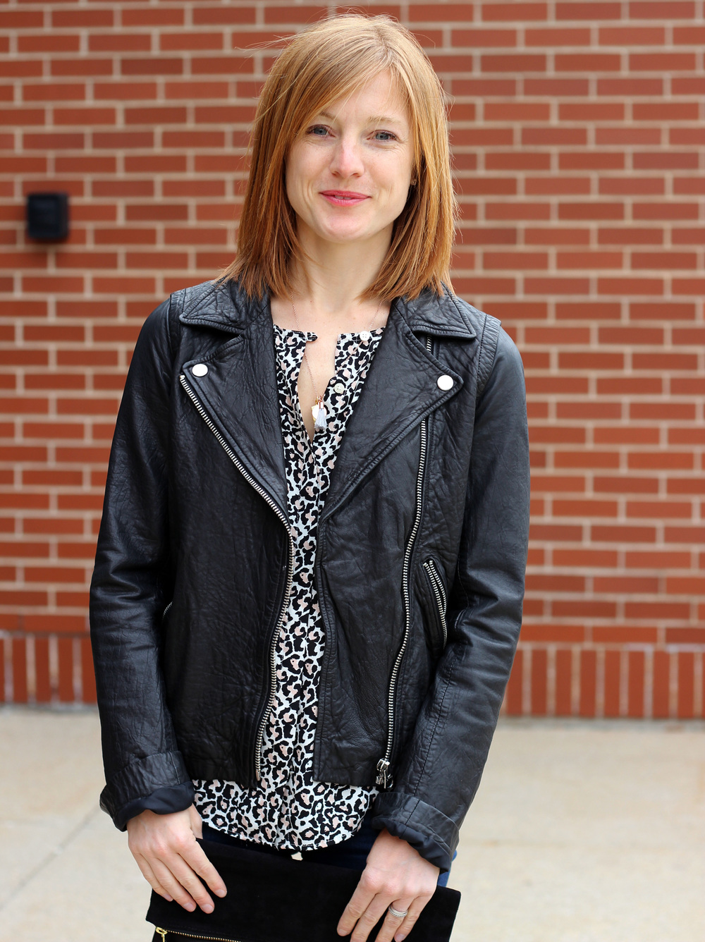 Anne of In Residence: Black leather Madewell jacket + leopard-print blouse
