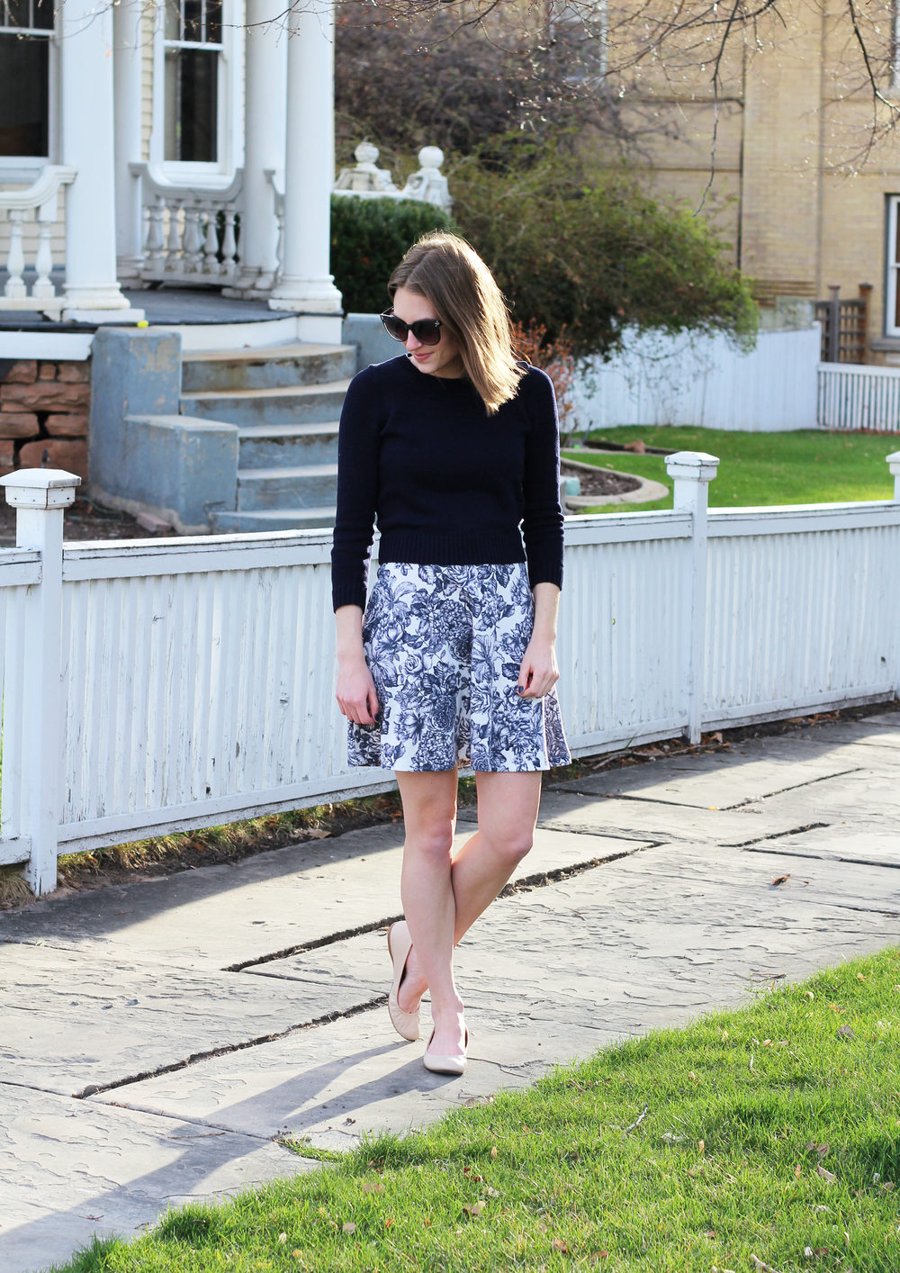 Navy cropped sweater over floral dress + neutral J.Crew 'Cece' ballet flats — Cotton Cashmere Cat Hair