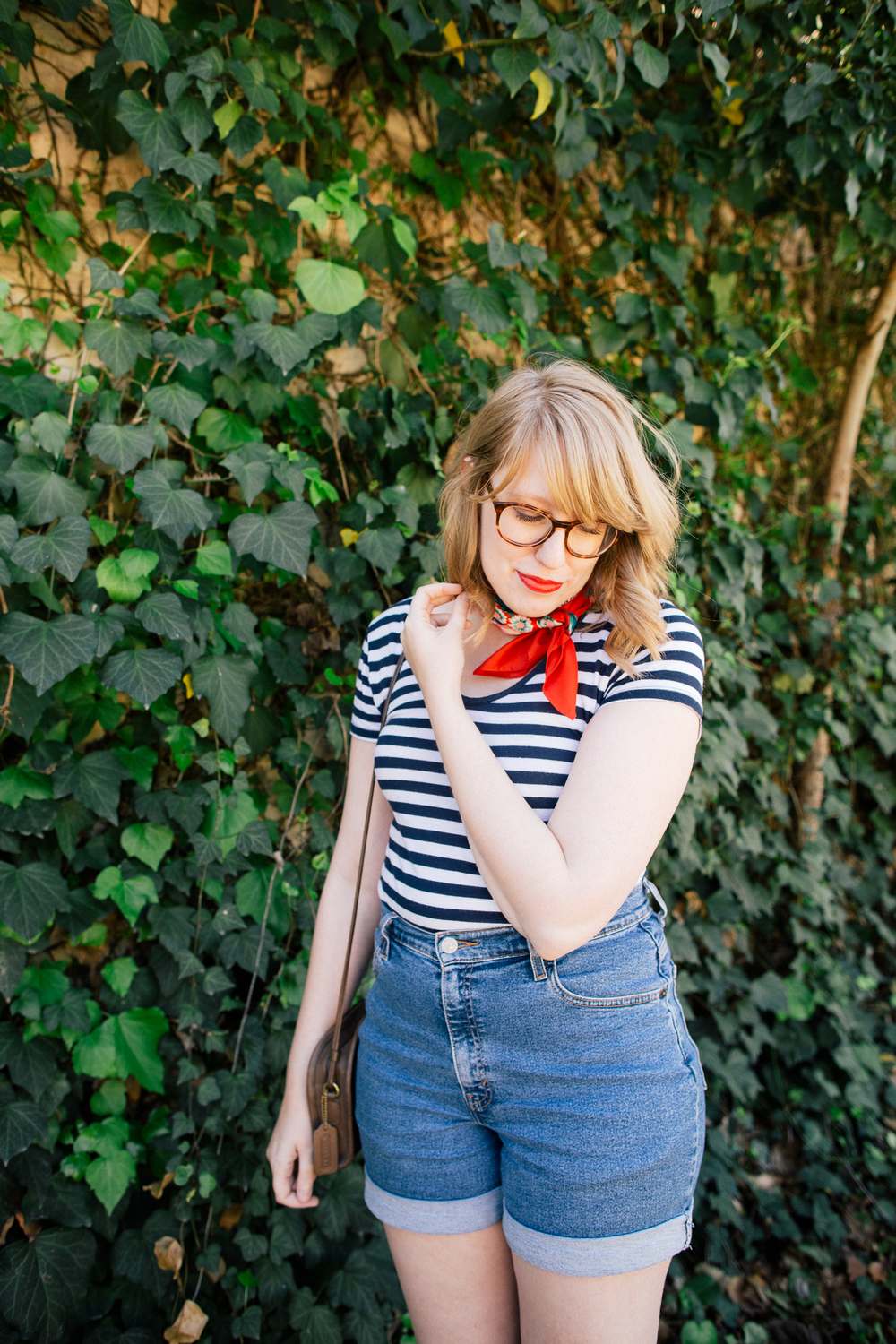 Nicole of Writes Like A Girl: Neck scarf + striped tee + high-rise shorts