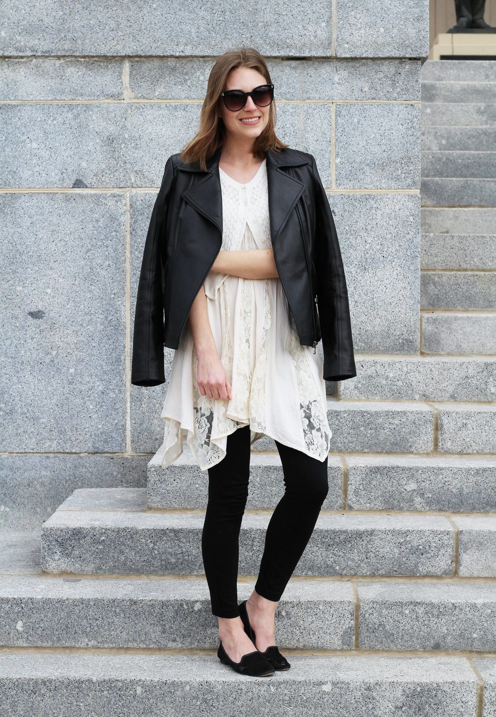Leather jacket, cropped cardigan, lace dress, black pants, black loafers — Cotton Cashmere Cat Hair