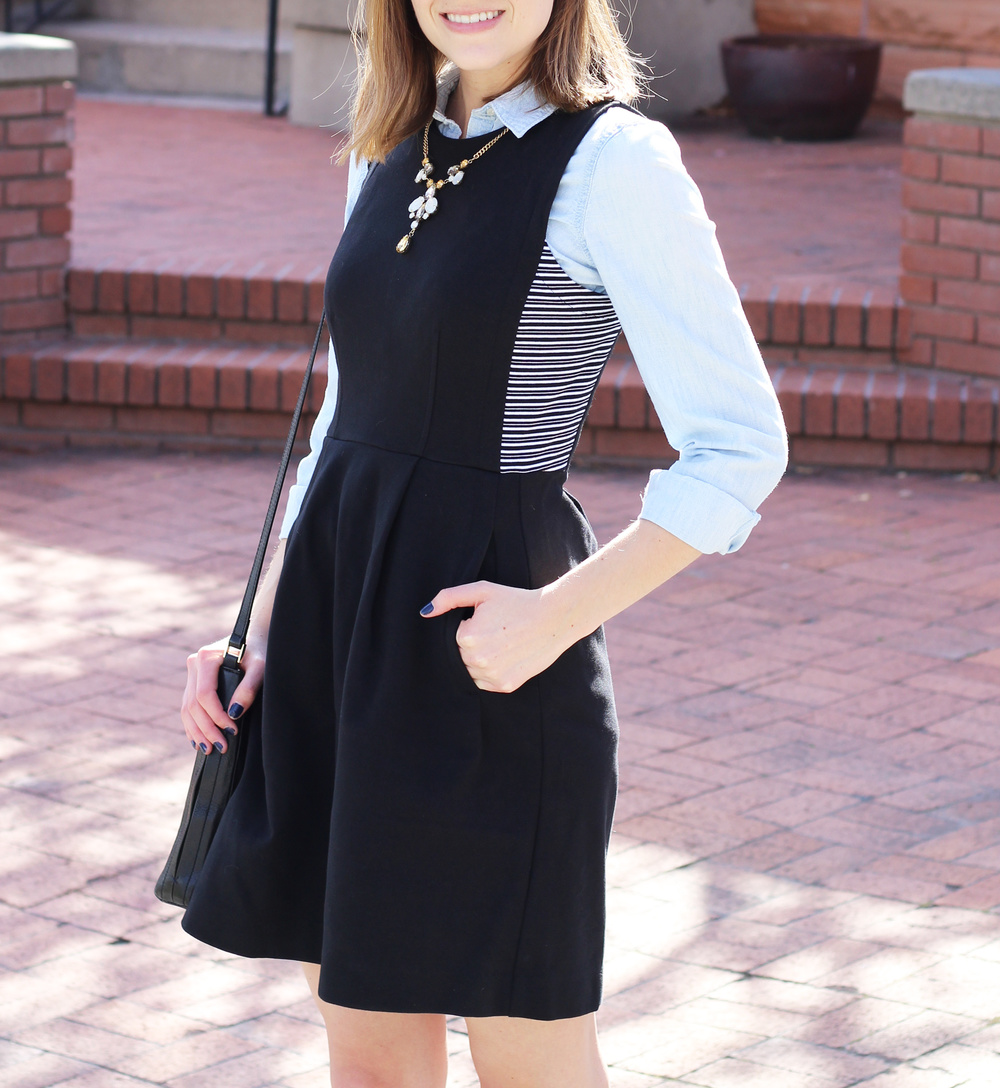 Spring outfit: Chambray shirt layered under black dress — Cotton Cashmere Cat Hair
