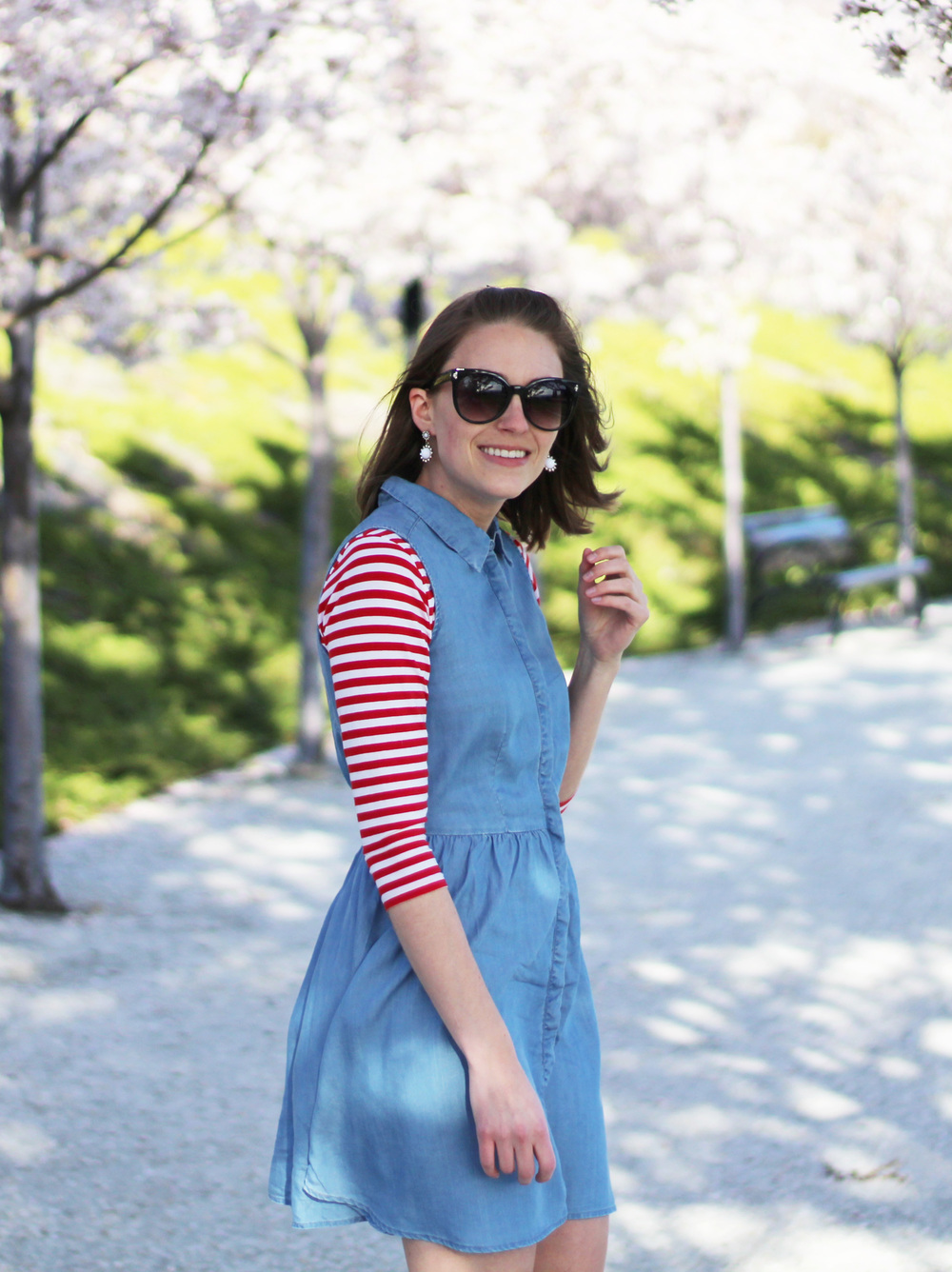Red white striped tee layered under chambray dress + white statement earrings — Cotton Cashmere Cat Hair